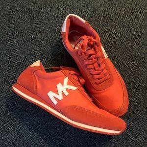 Michael kors orange sneakers MK white logo size 7